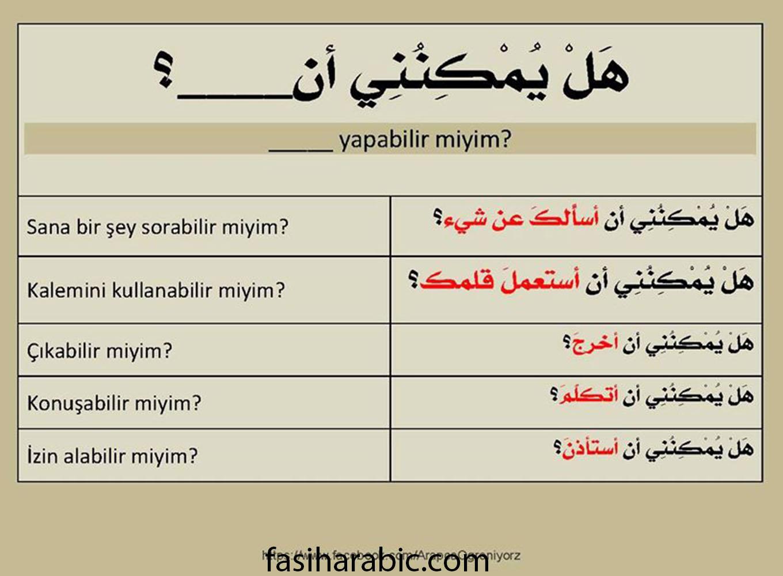 arapca - e bilir miyim kalibi